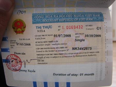 Mijn visum voor Vietnam