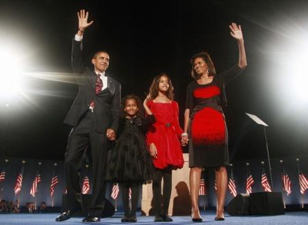 Obama en familie in Chicago